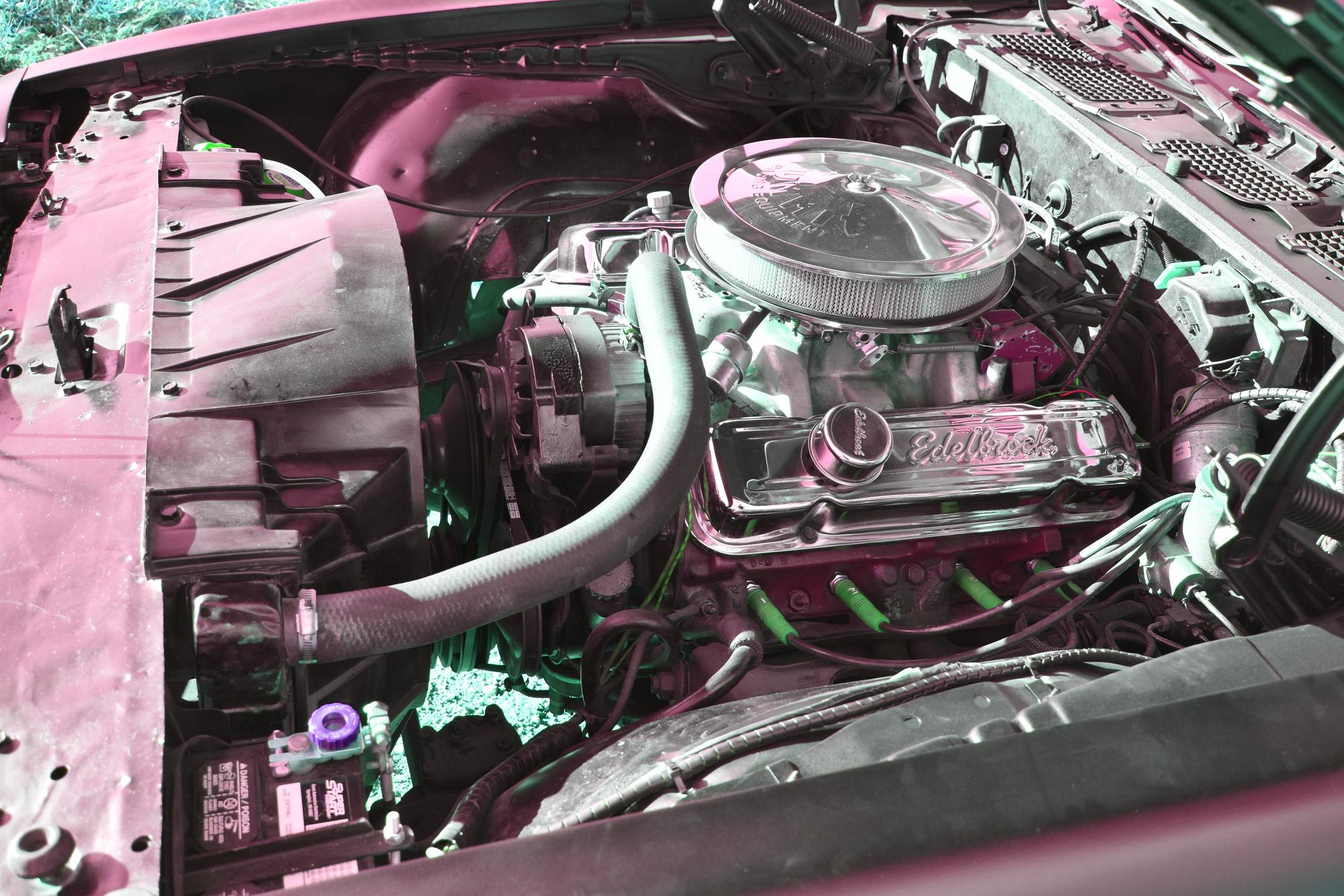 Motor eines 1970 Pontiac Firebird Esprit Formula 350 5.7 Liter oldtimer